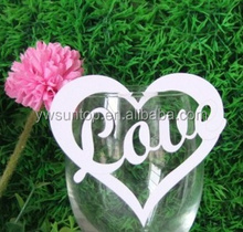 Romantic Love Heart Design Wine Glass Paper Place Card Holders Wedding Favors party decorations