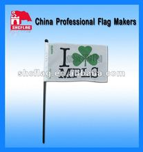 2012 China small size plastic waving hand flag with plastic pole