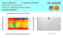 """Best cheap 9"""" a23 dual core tablet with 2G sim card slot/ 9 inch gsm tablet pc/ cheapest 9 inch tablet with high resolution"""