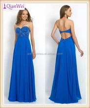 2015 long royal blue unique vine pattern beads and sequins covering bodice strapless sweetheart chiffon evening dress