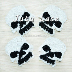 Fabric Skull Applique, shabby chiffon flower wholesale, skull elastic
