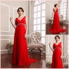 Deep v-neck long evening dress with backless red chiffon evening dress formal whoelsale online shopping hong kong