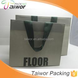 Wholesale Custom Grey Matt Art Paper Shopping Bag with Flat Cotton Handle
