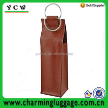 D-ring handle leather wine bag carrier