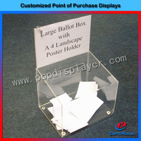 Clear acrylic ballot box with poster holder