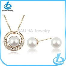 Elegant gold alloy plating wedding bridal pearl jewelry set