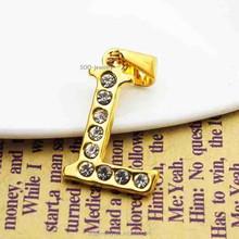 Unique 18k Gold Stainless Steel Letter Pendant for Men Full Crystal Alphabet L Charm Necklace
