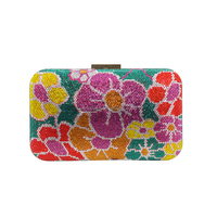 multi-color flower handbag clutch bag box crystal handbags for ladies