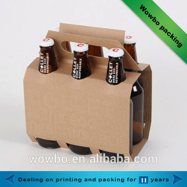 Six pack beer bottle no print corrugated box with handle for 6 pack beer carrier template