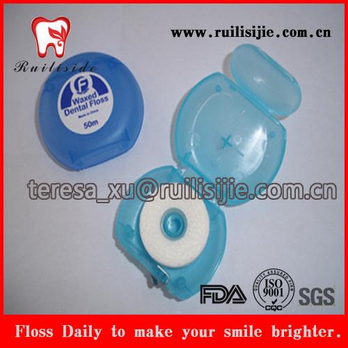 FDA approvedl encerado ou unwaxed fio dental com impressão de etiquetas personalizadas