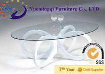 beautiful flower shape lounge furniture glass coffee table