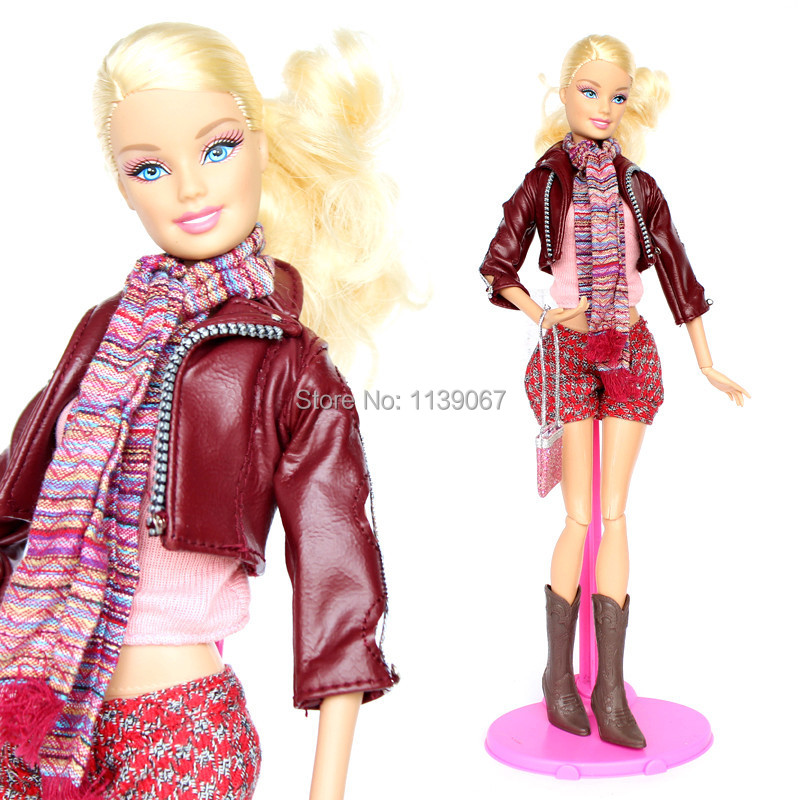 (Mix Transport)Handmade Garments Deep Crimson Go well with Prime Leather-based Coat Shorts Boots Scarf Equipment Outfit For Kurhn Barbie Doll