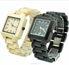 2015 hot sale square quartz black and white wooden couple watch,gift for man and woman (SWTPR1036)