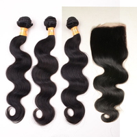 DHL Free Shipping Peruvian Body Wave Virgin Human Hair Bundles with Free Parting Lace Closure Bleached Knots 7A Best Quality