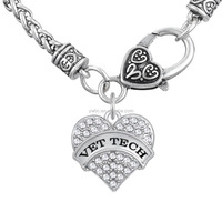 Vet tech bigger heart message crystal charms for link necklace 5mm heavy wheat lobster necklace