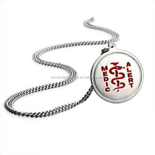 SRP0150 New Fashion Helix Snake 316L Stainless Steel Jewelry Round Medical Alert Pendant