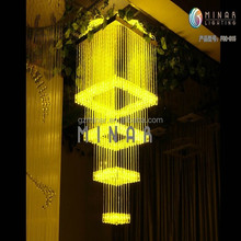 Twinkle effect high quality fiber plastic colored gold chandelier