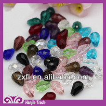 Wholesale assorted colors teardrop faceted beaded crystal glass with samll hole