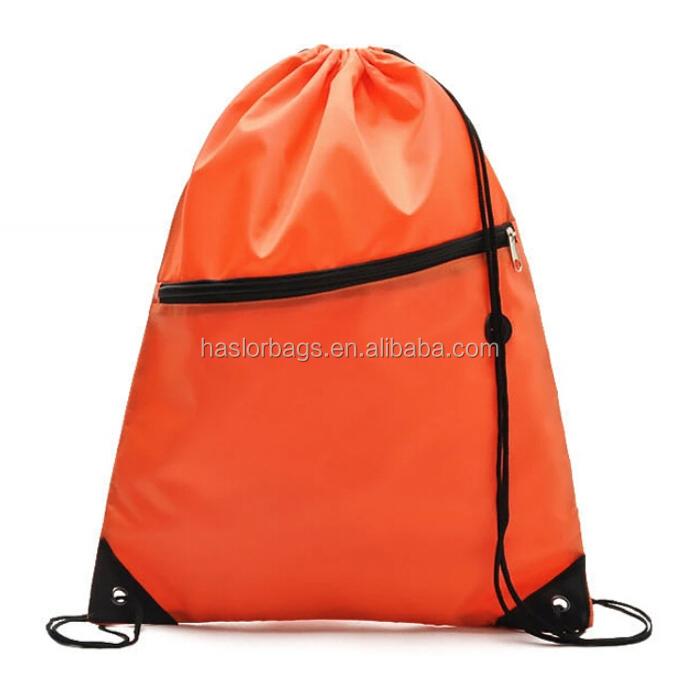 Mode nylon cordon sac à dos avec poche à fermeture éclair