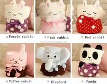 JPTOWEL150106 2015 new designs 95x78cm elephant rabbit panda coral fleece blanket air condition quilt