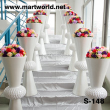Hot sale decorative white resin&crystal pillars for wedding decoration columns (S-148)