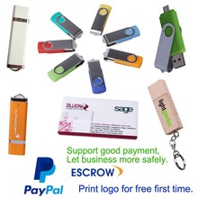 Customized Promotion free logo printing paypal accept usb flash drive
