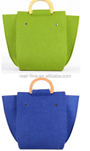 2015 New Arrival Women Fashion Felt Tote Bag With Wooden Handles Women Easy to Carry Handbag Women Casual Messenger Bag