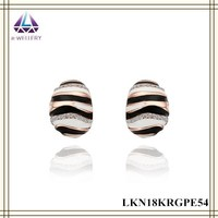 Oval Gold Plated Alloy Earring Jewelry With Black And White Paint Gold Earring For Women