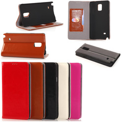 Genuine leather flip leather case for Samsung Galaxy note 4