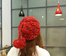 S10575A korea style knitting woolen hats parrel ball color dots knitting woolen for women