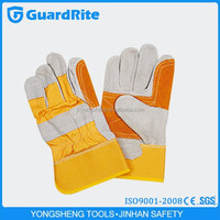 """GuardRite brand 10.5"""" yellow cow split leather pig grain working gloves pakistan manufacturer in china"""