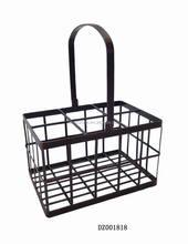 Picnic Wrought Iron Wine Bottle Holder Basket 6-BT