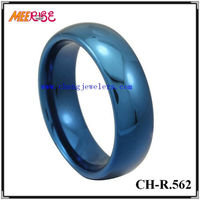 Comfort Fit High Quality Dome Tungsten Carbide Ring Blue