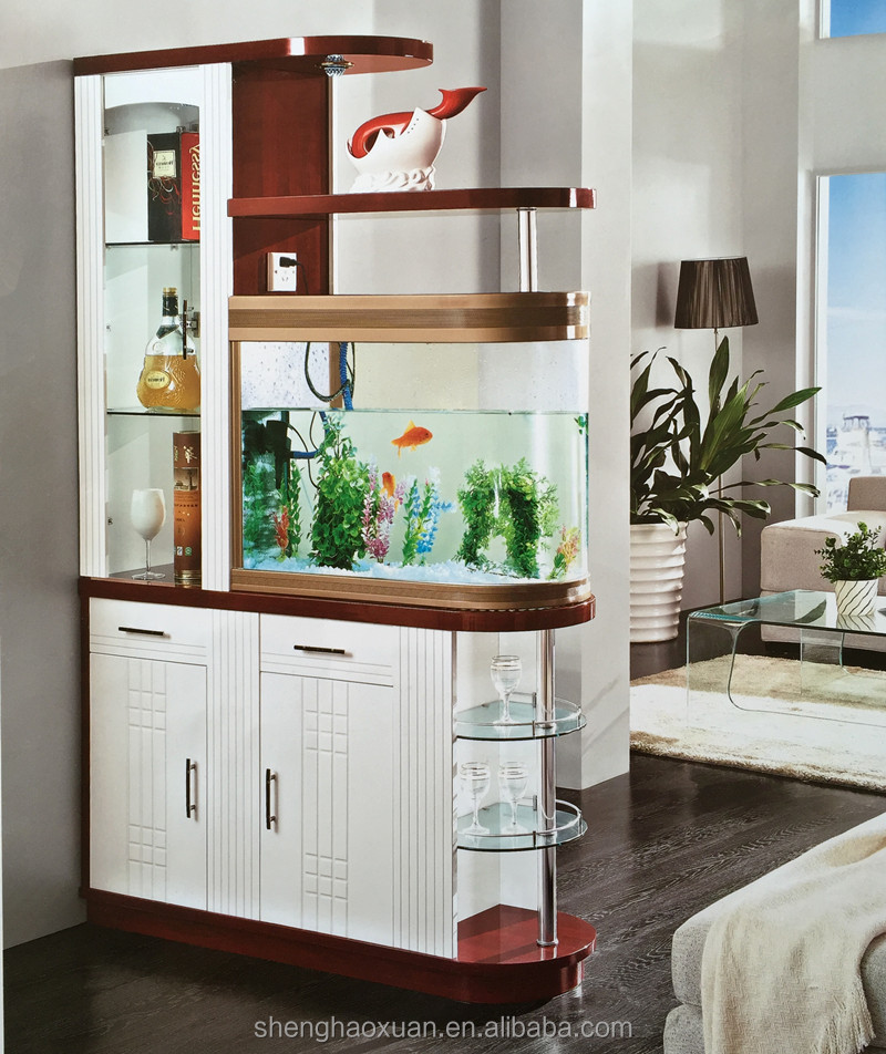Hot selling glass room dividers with fishbowl S971# living room ...