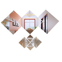 Fashion DIY 7pcs Mirror 3D Wall Home Vinyl Stickers Living Bed Room Background Decoration Home Art Decal Mirror Surface Sticker