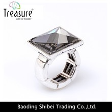 Fashion Jewelry Wholesale Men's Ring Silver Gold Square Diamond Rings