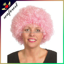 Pink color Football Fans Afro Wigs Synthetic Fiber Wig/party wigs
