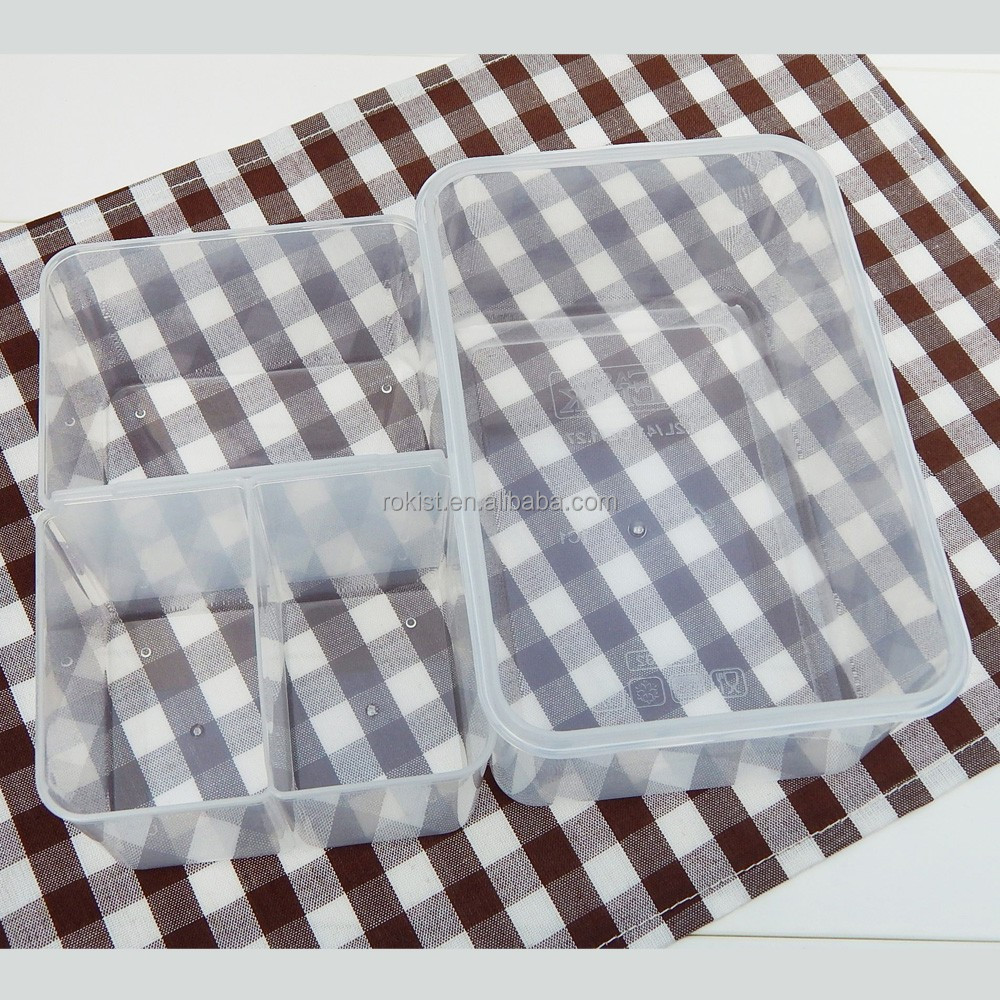 Plastic Divided Plastic Storage Boxes with Three Compartments