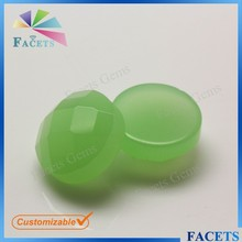 FACETS GEMS Customizable Jade Green Checkerboard Cut Green Glass Beads