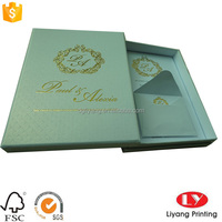 handmade exquisite hard Paper gift wrapping Box with lid and invitation cards