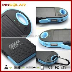 Free Shipping Power Bank 5000mAh Waterproof Solar Charger Dual USB Powerbank External Battery for Mobiles