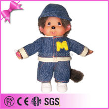 famous cartoon character Japan MONCHHICHI stuffed plush toy doll with plastic face