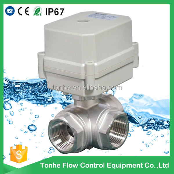 horizontal 3-way motorized stainless L type electric motorized ball valve