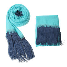 Women's Fashion Polyester Cotton Wrap Scarf Beautiful Long Skyblue scarves