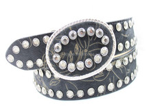 Rhinestone leather belts with removable buckles