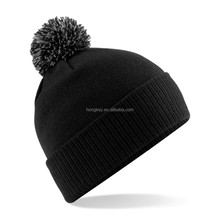 winter knit beanie hat with top ball