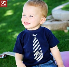 New High Quality Little Mister Tie shirt Toddler Boys Tshirt