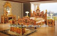 Bisini luxury 24K gold plated bedroom set,Italian bronze bedroom set
