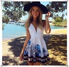 2015 nova moda mulheres sexy imprimir vestido com decote em v cintas vestidos de chiffon vestido de praia plus size from OEM GZ
