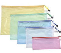 Customized Size PVC Mesh File Zipper Bags For Documents Packaging Reach Standand